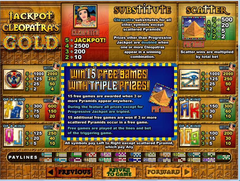 Cleopatras Gold Payline